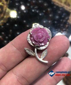 Mặt Hoa Mẫu Đơn Ruby Thái bọc bạc-R228