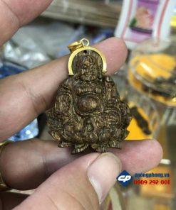 Mặt Phật Di Lặc Trầm Sánh chìm móc vàng 18k-r254