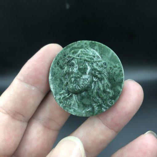 Mặt đức Chúa Giesu mũ đinh đá Serpentine xanh Ấn độ CP272