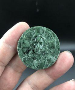 Mặt dây chuyền Đức Chúa Giesu Phục Sinh đá xanh ấn độ Q101