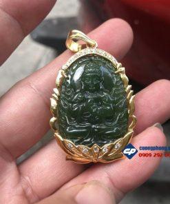 Mặt Phật Như Lai Đại Nhật Ngọc Bích Nephrite bọc vàng 18k M305