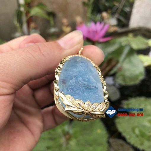 Mặt phật A Di Đà đá Aquamarine bọc vàng 18k K002
