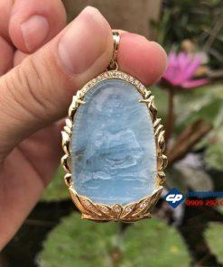 Mặt phật A Di Đà đá Aquamarine