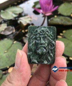 Mặt dây Đức Chúa Giesu mũ đinh đá Serpentine xanh ấn độ CP450
