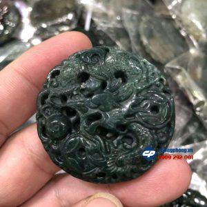 Mặt Ngọc bội Rồng phun châu đá Mã não rêu M3080 phong thủy