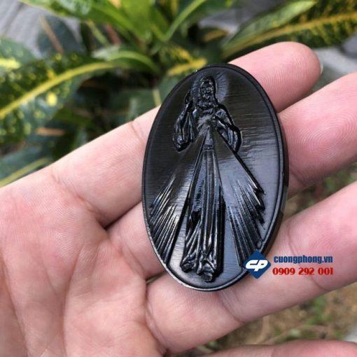 Mặt dây chuyền Lòng Chúa Thương Xót đá Obsidian M333