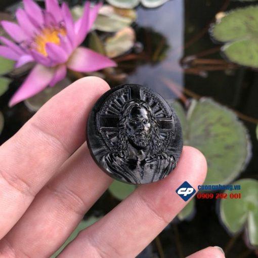 Mặt dây chuyền Đức Chúa Giesu Đá đen Obsidian M347