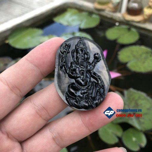 Mặt dây chuyền Thần Voi Thái Lan Ganesha Đá Đen Obsidian M349