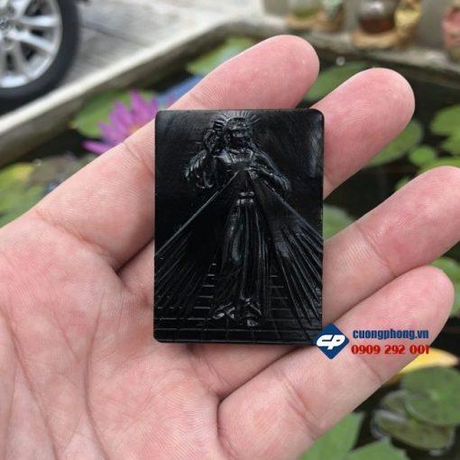 Mặt dây chuyền Lòng Chúa Thương Xót Đá Đen Obsidian M351