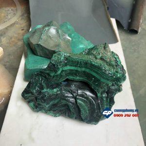 Mặt đức mẹ Sầu Bi đá Lông Công Malachite CP460 phong thủy