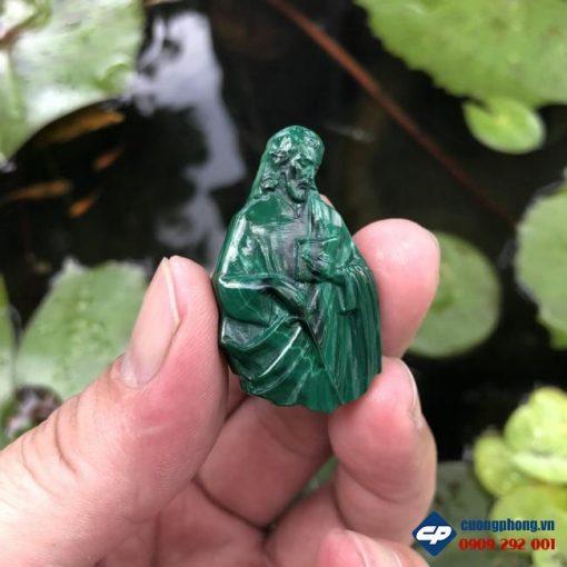 Mặt dây Thánh cả Giư-sê đá Lông Công Malachite CP458