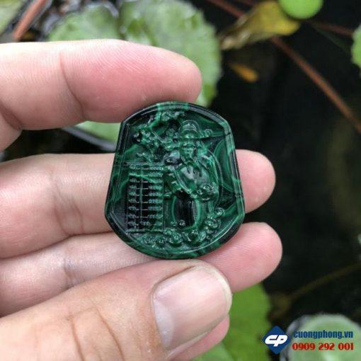 Mặt dây chuyền Thần Tài đá Lông Công Malachite CP466