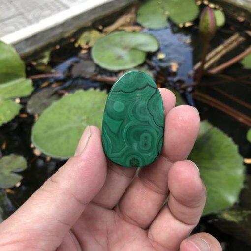 Mặt dây chuyền Phật A Di Đà đá Lông Công Malachite CP473