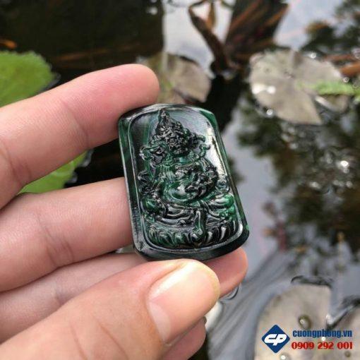 Mặt dây Hoàng Tài Bảo Thiên đá Lông Công Malachite CP482