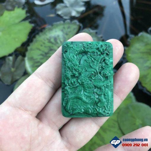 Mặt Phật A Di Đà Rồng đá Lông Công Malachite CP486