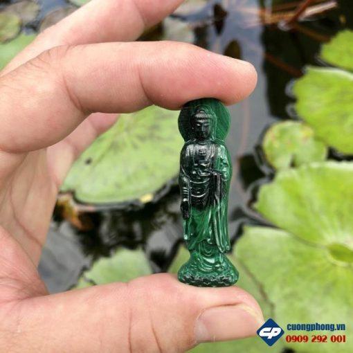 Mặt Phật A Di Đà đứng Đá Lông Công Malachite CP487
