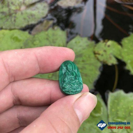 Mặt Phật A Di Đà đá Lông Công malachite size nhỏ CP490
