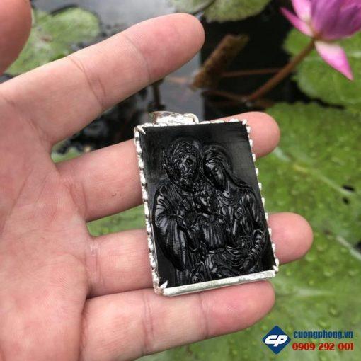Mặt dây Gia Đình Thánh Gia đá obsidian bọc bạc CP492
