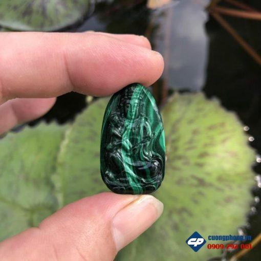 Mặt Phật Quan Âm Tống Tử Đá Lông Công Malachite CP497