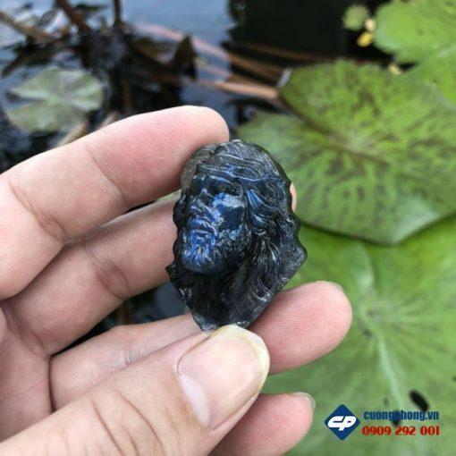 Mặt dây Chúa Giesu mão gai đá Xà Cừ Labradorite CP498
