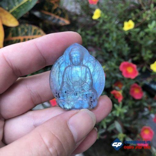 Mặt Phật A Di Đà đá Xà Cừ Labradorite CP500
