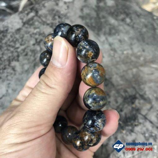 Vòng chuỗi hạt đeo tay đá Pietersite hạt 14 li CP507