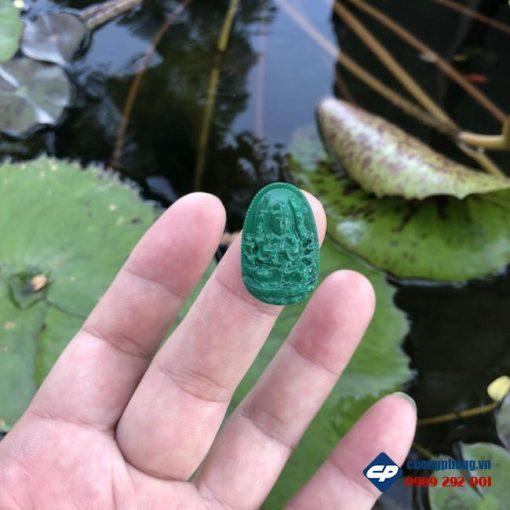 Mặt phật bản mệnh Thiên Thủ Thiên Nhãn đá Lông Công size nhỏ CP512