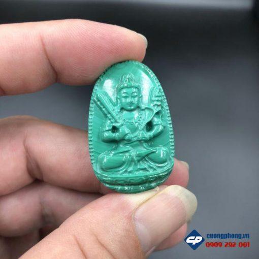 Mặt Phật Bản Mệnh Hư Không Tạng Đá Lông Công malachite CP518