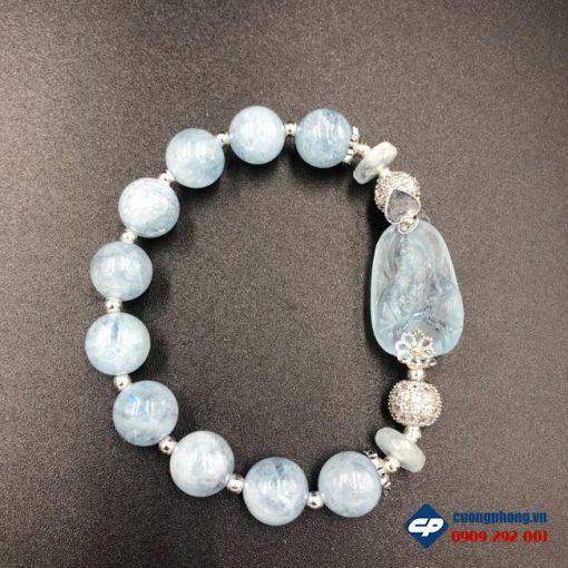 Vòng tay Công Giáo Đức Mẹ Maria đá Aquamarine