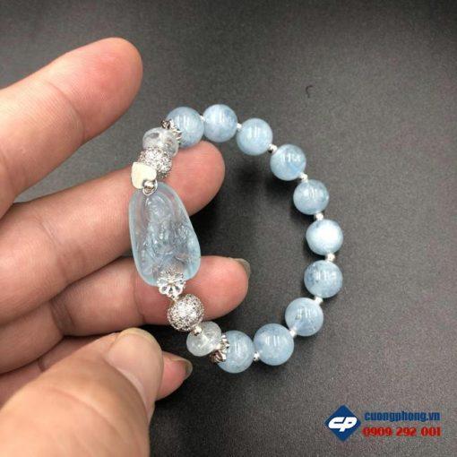 Vòng tay Công Giáo Đức Mẹ Maria đá Aquamarine CP383