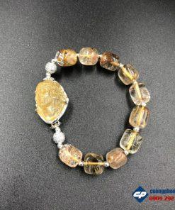 Vòng tay Chúa Giesu mũ gai Đá Thạch Anh Tóc Vàng bọc bạc CP384