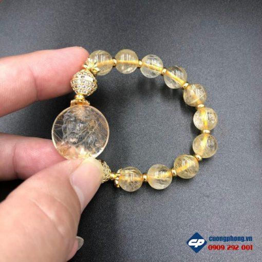 Vòng tay Chúa Giesu mũ gai Đá Thạch Anh Tóc Vàng CP385