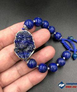 Vòng tay Đức Chúa Giesu mũ gai bọc bạc đá Lapis Lazuli CP387