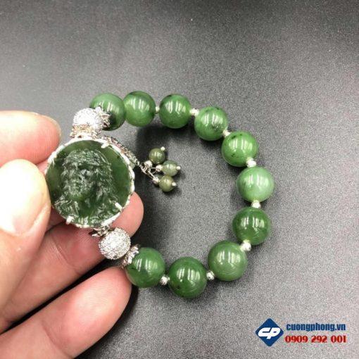 Vòng tay Đức Chúa Giesu Ngọc Bích Nephrite bọc bạc CP389