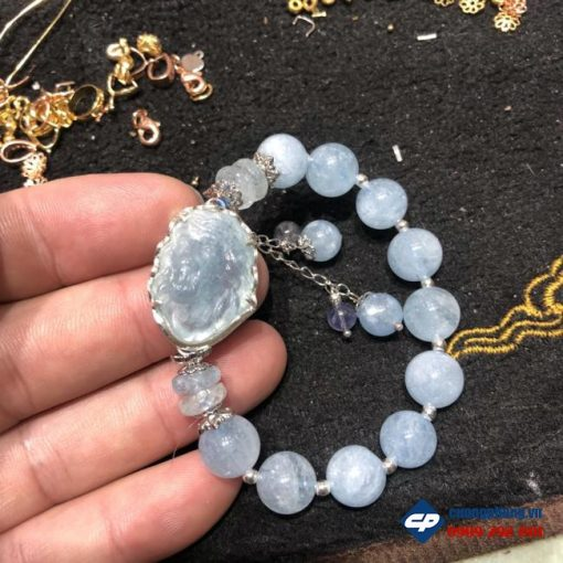 Vòng tay Đức Chúa Giesu đá aquamarine mix bạc CP391