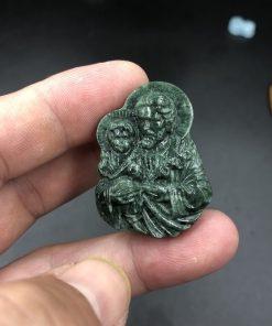 Mặt dây thánh Giuse bồng chúa Giesu đá Serpentine CP610
