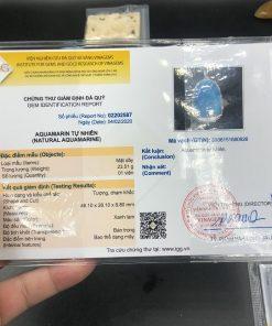 Mặt dây chuyền Phật a di đà Aquamarine bọc bạc đã kiểm định CP613