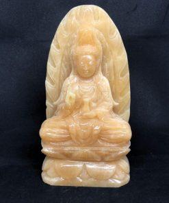 Tượng phật Quan Âm ngồi đá Hoàng Long 20cm CP630