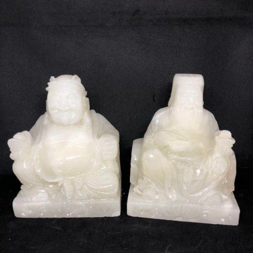 Bộ thần tài thờ địa đá Onyx Pakistan trắng xanh 15cm CP635
