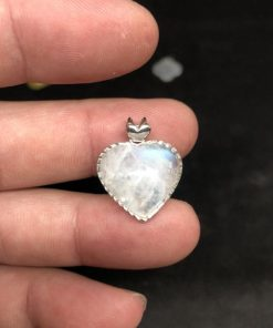 Mặt dây chuyền trái tim đá mặt trăng Moonstone bọc bạc 2cm CP653