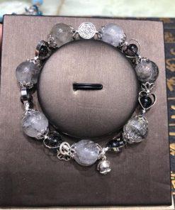 Vòng tay chuỗi hạt đá thạch anh tóc đen Mix phụ kiện bạc CP681
