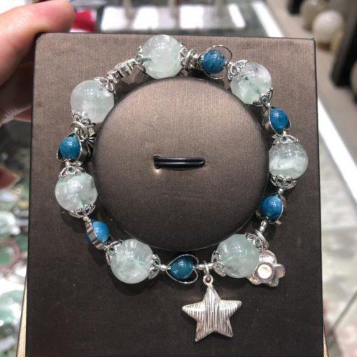 Vòng tay chuỗi hạt đá thạch anh xanh và apatite Mix phụ kiện bạc CP686