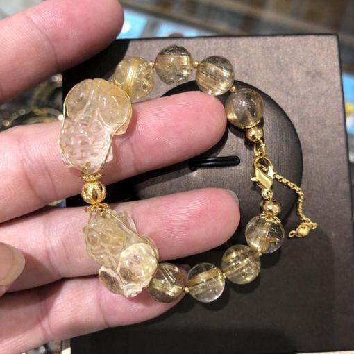 Vòng tay chuỗi hạt đá thạch anh tóc vàng Mix tỳ hưu CP689