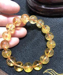 Vòng tay chuỗi hạt đá thạch anh tóc vàng 12 li CP690