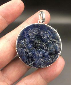 Mặt dây gia đình thánh giá đá Sodalite bọc bạc 4cm CP693