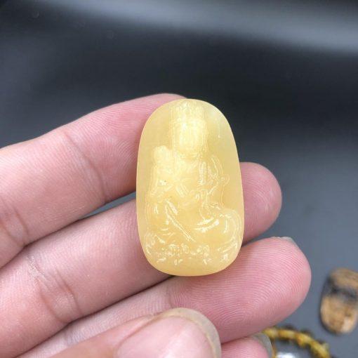 Mặt dây chuyền Phật Quan Âm tống tử đá Hoàng Long CP708