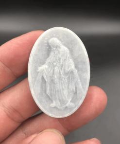 Mặt dây Đức Mẹ Ban Ơn Ngọc cẩm thạch tím môn nhạt V531