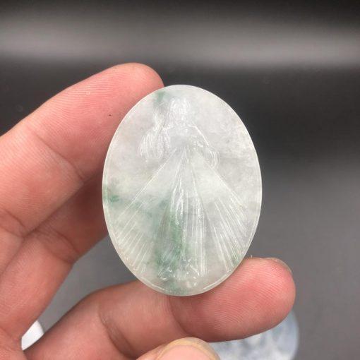 Mặt dây Lòng Chúa Thương Xót Ngọc cẩm thạch loại A V534