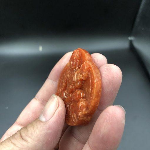 Mặt Phật bản mệnh Phổ Hiền đá cẩm thạch huyết V535