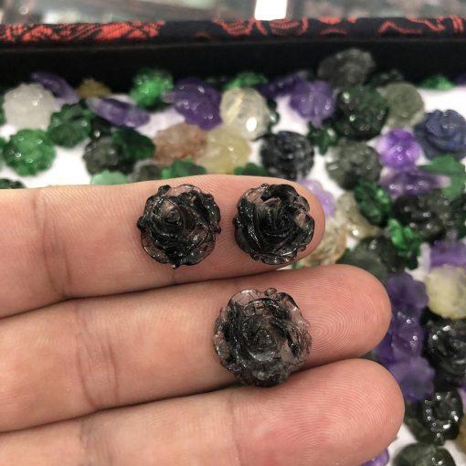 Mặt Hoa Mẫu Đơn đá Thạch Anh Tóc Đen V560